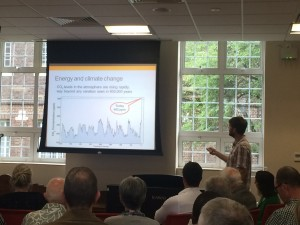 SE24 member Dr Paul Chambers demonstrates the effects of CO2 emissions on global warming in a talk on climate change and government policy