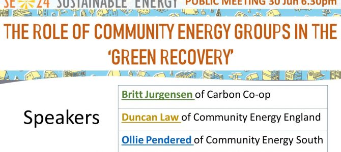 SE24 Public meeting: 30 June 2020 @ 6.30pm: The role of community energy groups in the 'Green Recovery'