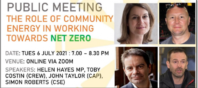 SE24 Public meeting Tuesday 6 July: The role of community energy in working towards net zero